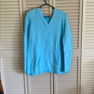 Lilly Pulitzer light blue hooded sweater size M